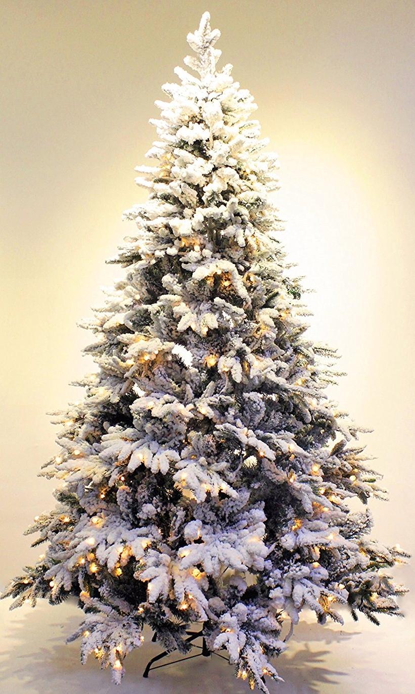 Pre-lit Real Feel Flocked Alpine Spruce Artificial Christmas tree