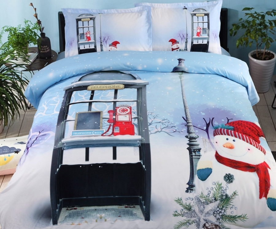 4 Piece Blue Christmas Duvet Cover Set