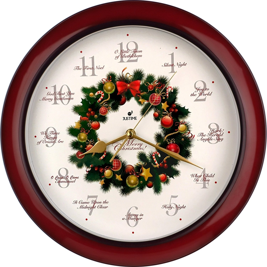 Elegant 14-inch 12 Song of Carols of Christmas Wreath Melody Wall Clock