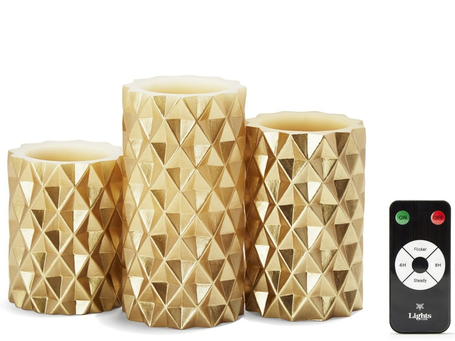Geometric Flameless Pillar Candles
