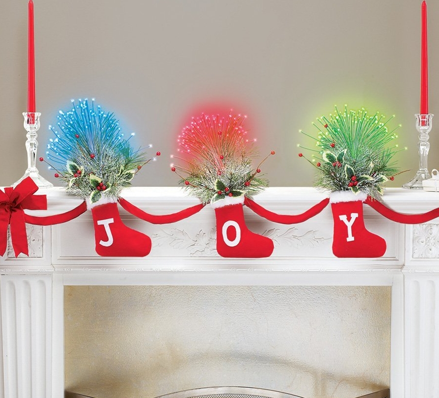 Joy Christmas Stockings Garland with Fiber Optic Greenery