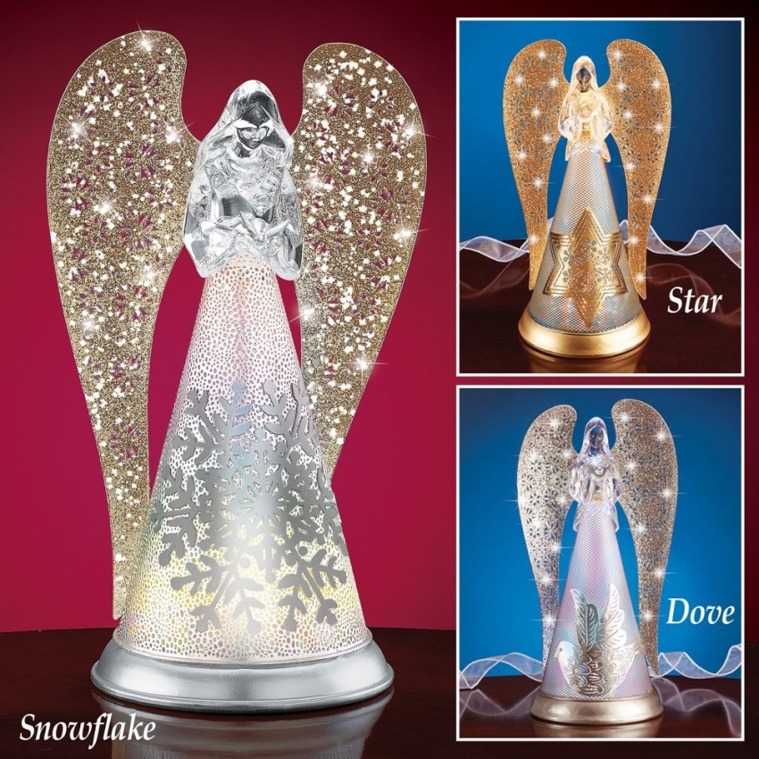 Lighted Glittery Snowflake Angel Figurine Snowflake