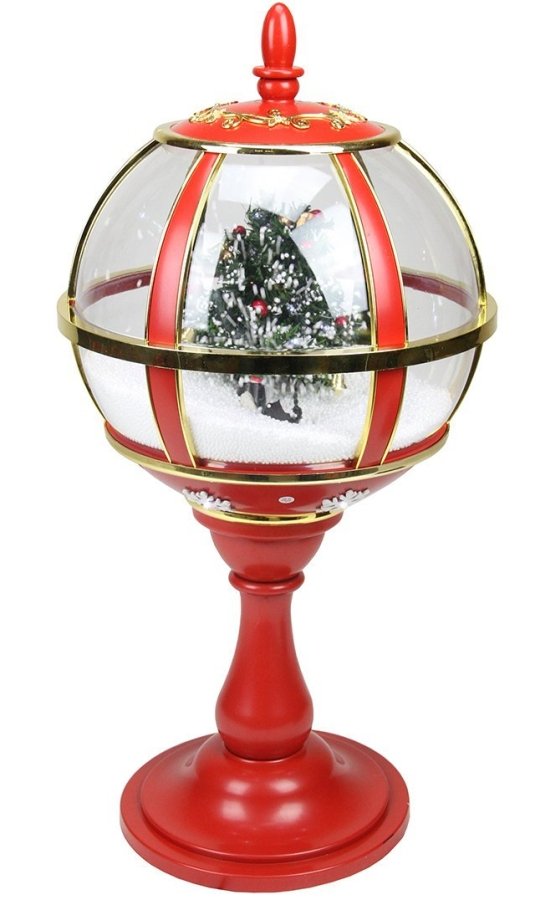 Lighted Red and Gold Musical Snowing Christmas Tree Holiday Table Top Street Lamp