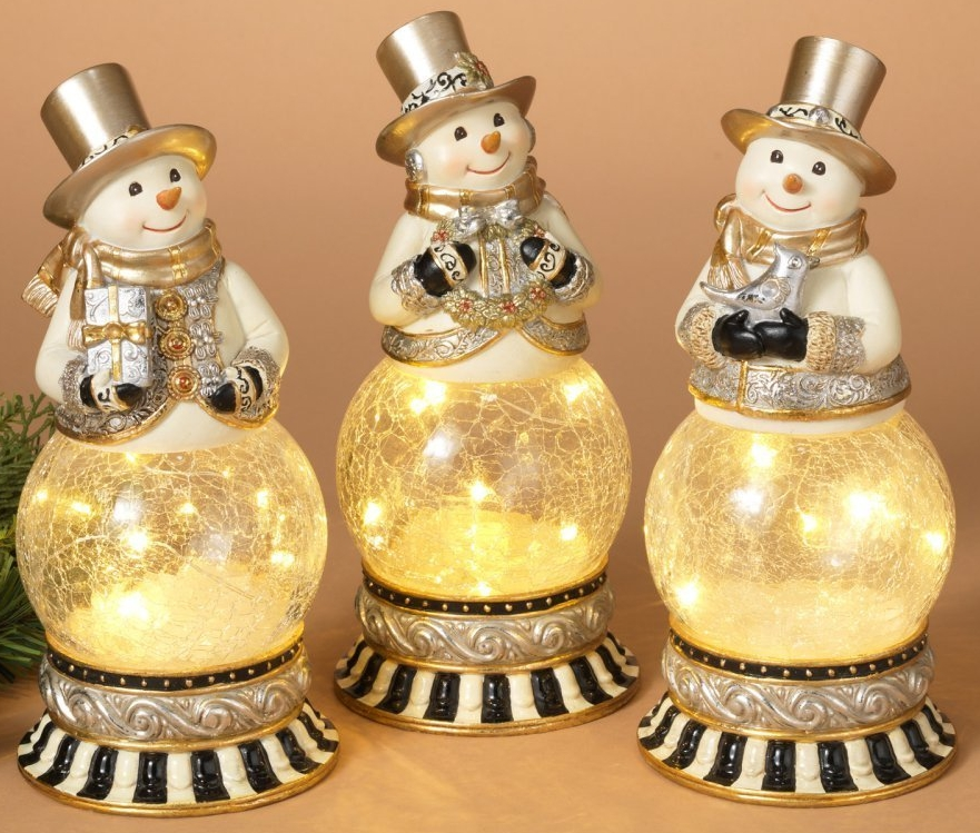 Lighted Resin Snowman Water Globes With Crackled Glass