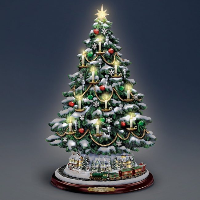 Thomas Kinkade Candlelit Tabletop Tree With Lights Christmas