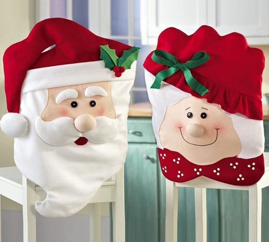 Kitchen Chair Slip Covers Featuring Mr & Mrs Santa Claus