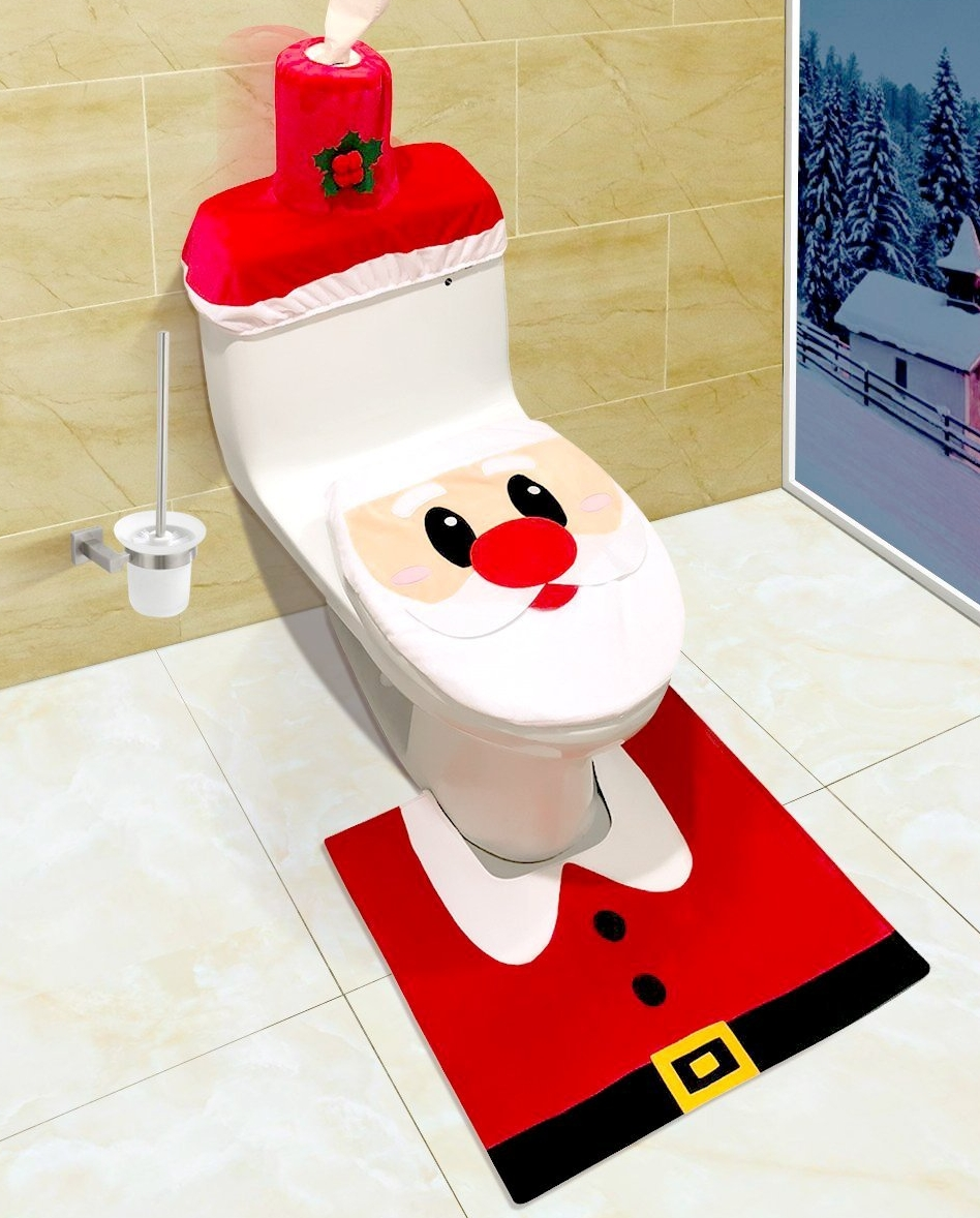 Santa Christmas Toilet Seat Cover and Rug