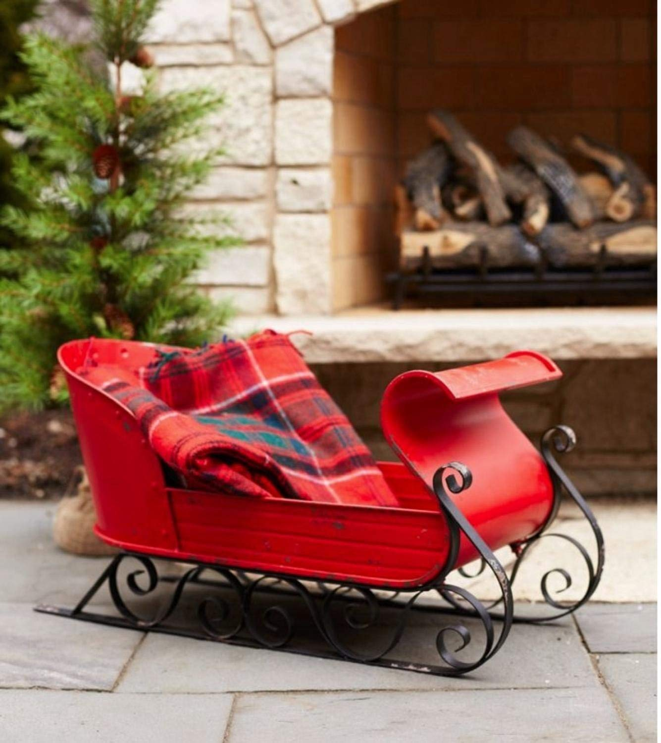 Metal Red and Black Decorative Christmas Sleigh