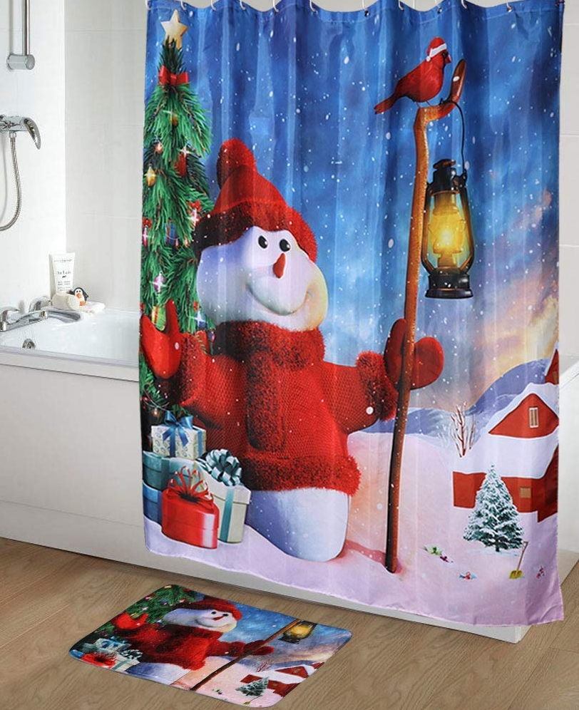 Snowman Shower Curtain and Mat Set