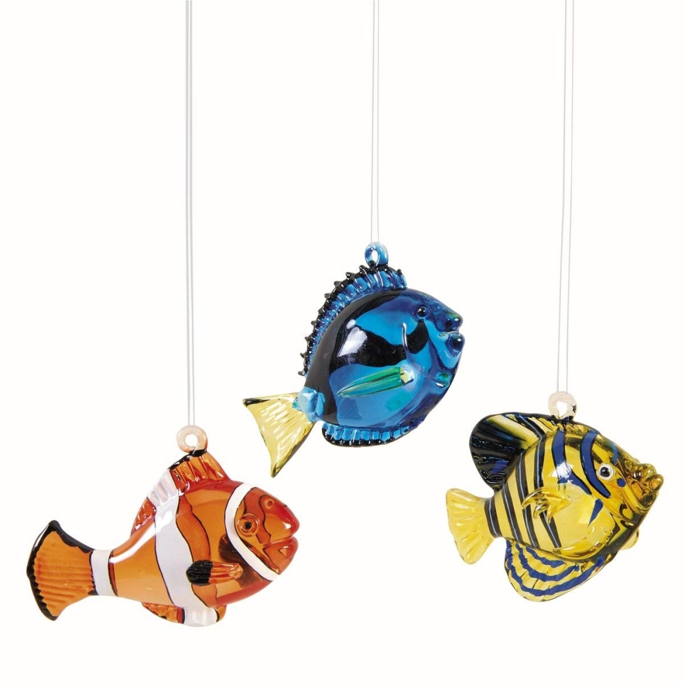 Tropical Fish Sunshine Yellow 4 inch Glass Christmas Ornaments
