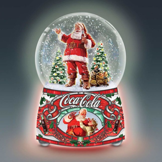 Coca Cola Santa Musical Glitter Globe Lights Up And Plays