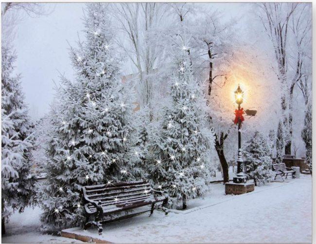 Lighted Winter Snowy Park Scene Print Canvas Art Christmas