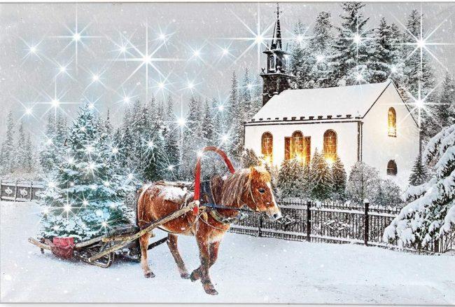 Light Up Winter Horse Canvas Wall Art Christmas
