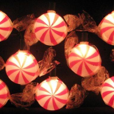 10-Light Red Peppermint Candy Light Set
