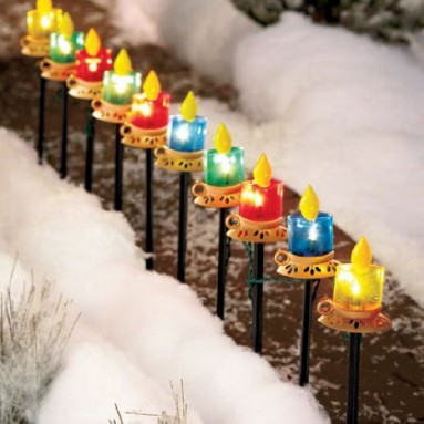 10 Multi Color Candle Path Lights Holiday Decor