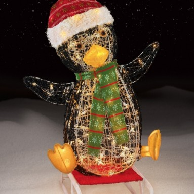 100 Light Sledding Icy Penguin Christmas Decoration