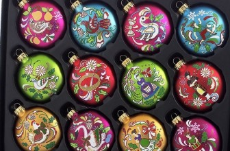 12 Days of Christmas Glass Ornament Set 12 Pieces