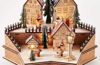 180 Degrees Star of David Shaped Christmas Lighted Alpine Winter Village Scene