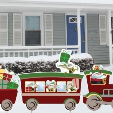 3 Piece Christmas Train Lawn Decoration