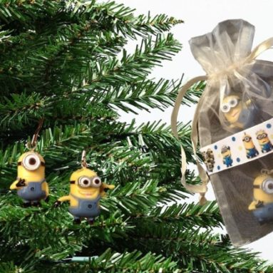 4 Despicable Me Minion Christmas Tree Ornaments in Gift Bag