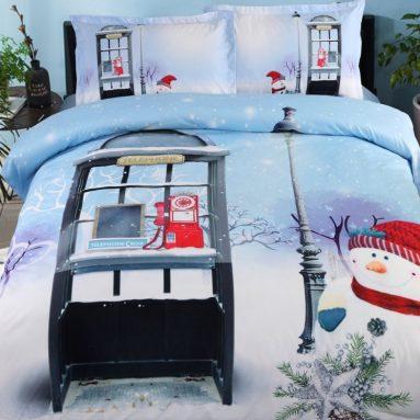 4 Piece Blue Christmas Duvet Cover Set