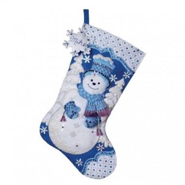 Snowflake Snowman Stocking Felt Applique Kit