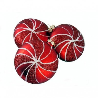 Candy Fantasy Shatterproof Matte Red Swirl Christmas Ornaments