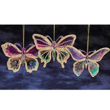 Princess Garden Iridescent & Golden Glitter Accents Butterfly Christmas Ornament
