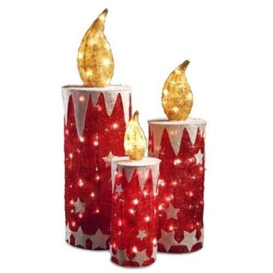 Sparkling Red Sisal Candle Lighted Christmas Yard