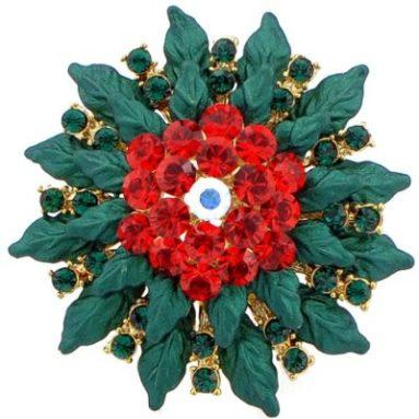 Poinsettia Swarovski Crystal Christmas Brooch