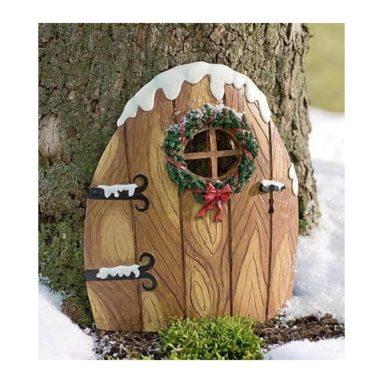 Resin Elfin Christmas Door with Snow-Drift Accents