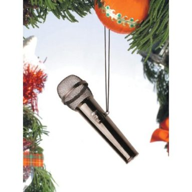 Black Microphone Tree Ornament