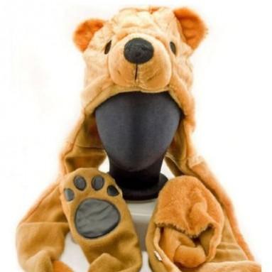 Bear Plush Hat with Scarve Glove Animal