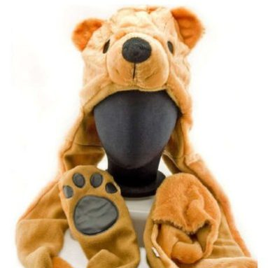 Bear Plush Hat with Scarve Glove Animal