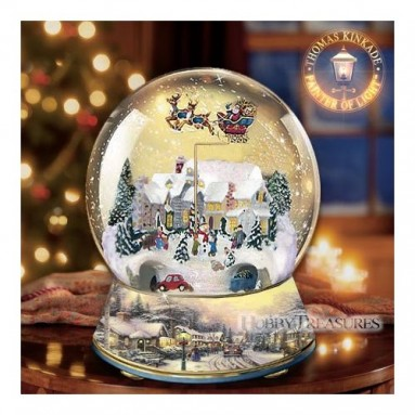 Thomas Kinkade Animated Village Christmas Musical Snowglobe