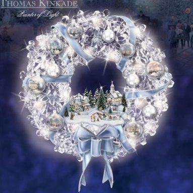 Thomas Kinkade Blown Glass Ornament Illuminated Christmas Wreath