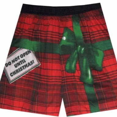 Do Not Open Until Christmas Plaid Boxers for men