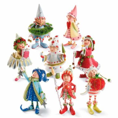 Patience Brewster 8 PC Christmas Dash Away Elves Elf Figural Ornament Set