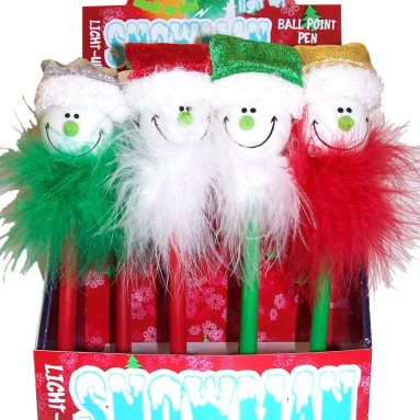 Inkology Christmas Lite Up Snowman Novelty Ball Point Pens