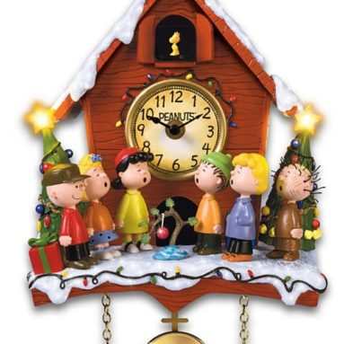 A Charlie Brown Christmas Sculptural Cuckoo Clock with Lights Music and Motion