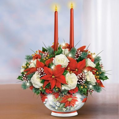 Always in Bloom Holiday Centerpiece Lights Up