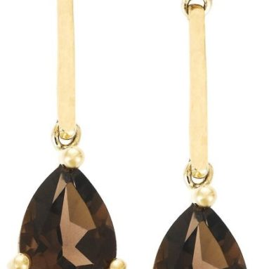 60% Discount: 14k Yellow Gold Tear Shaped Smoky-Quartz Drop Earrings