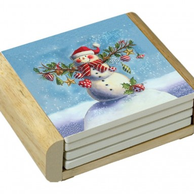 CounterArt Hanging Out Snowman Design Square Absorbent Coasters