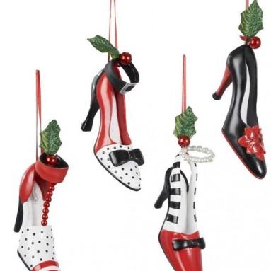 Polyresin Holiday High Heel Shoe Ornament