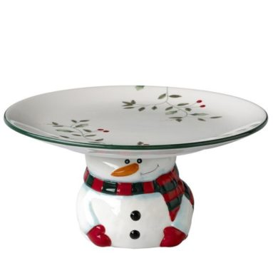 Stoneware Footed Snowman Cake Plate