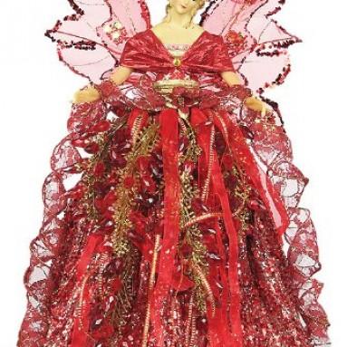 Angel Faceted Bead Skirt Burgundy Tree Topper