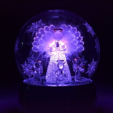 Animated Glass Angel Music Box