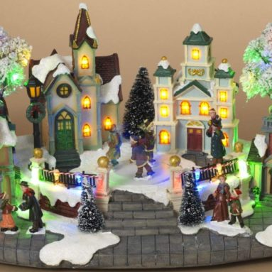 Animated Musical Christmas Village with Lights and Rotating Skaters