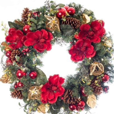 Artificial Pre Lit LED Decorated Christmas Wreath-Red Magnolia Decorations