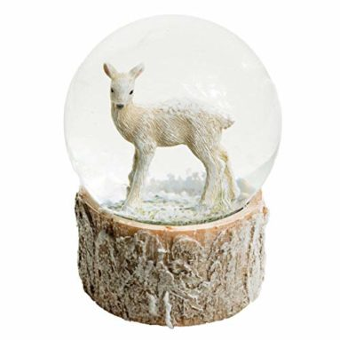 Baby Deer Water Globe with Faux Birch Base